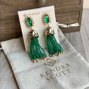 Kendra Scott Decker Emerald CZ Tassel Earrings NEW